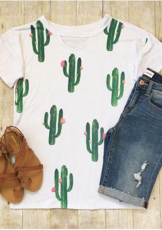 Cactus Floral Cut Out O-Neck T-Shirt
