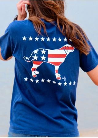 Dog Printed American Flag Pocket T-Shirt