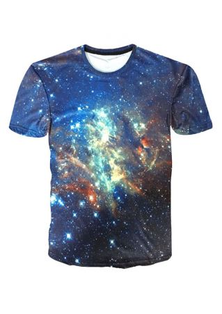 Starry Sky Printed O-Neck T-Shirt