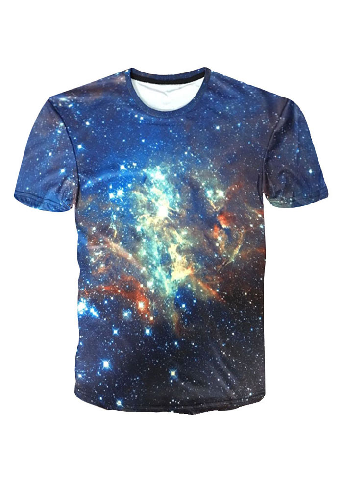 Starry sky printed o neck t shirt bellelily for T shirt printing stonecrest mall