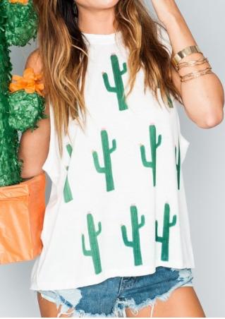Cactus Printed O-Neck Tank