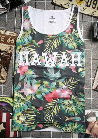 Floral Hawaii Printed O-Neck Tank