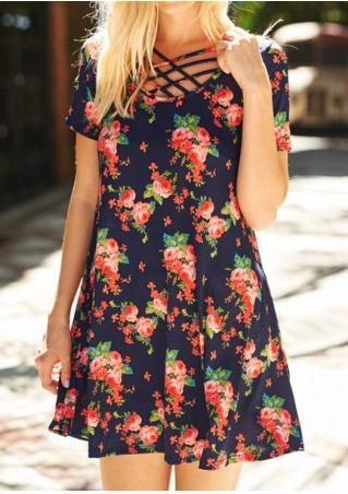 Floral Criss-Cross Mini Dress
