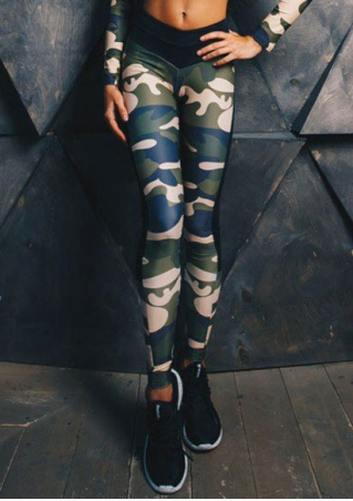 Camouflage Printed Splicing Skinny Leggings