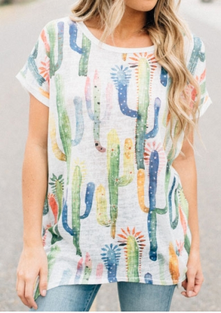Cactus Printed Asymmetric O-Neck Blouse