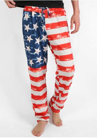 American Flag Printed Drawstring Pants