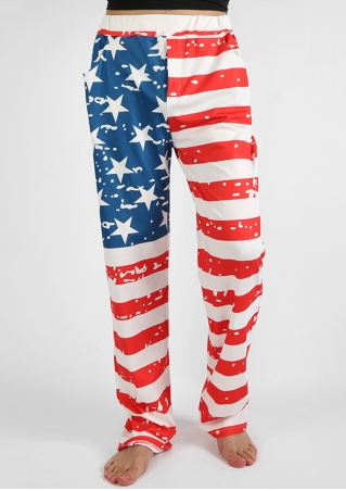 American Flag Printed Pocket Pants