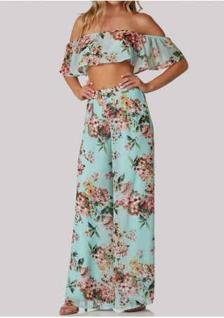 Floral Flouncing Crop Top and Wide Leg Pants Set