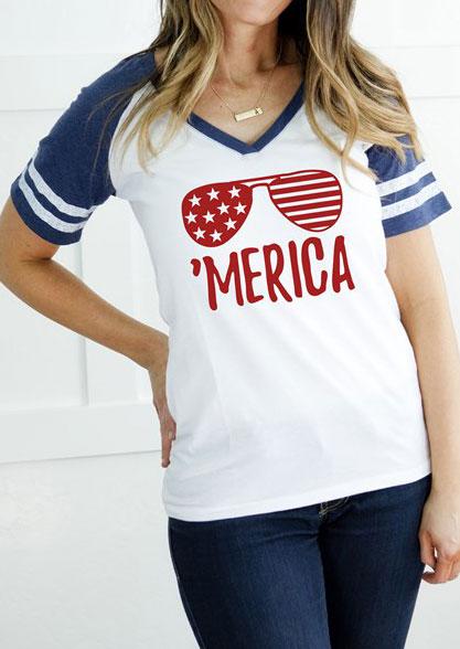 'Merica Flag Sunglasses Baseball T-Shirt