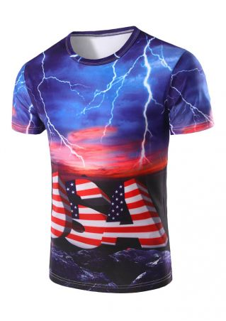 USA American Flag Lightning T-Shirt