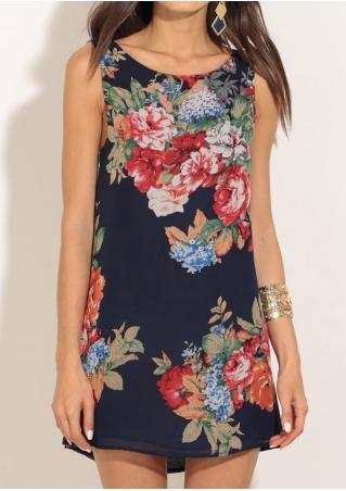 Floral Backless Draped Mini Dress