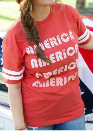 America Striped O-Neck T-Shirt