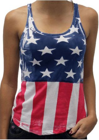 American Flag Criss-Cross Backless Tank