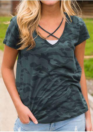 Camouflage Cross V-Neck T-Shirt