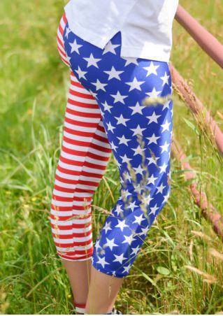 American Flag Star Striped Leggings