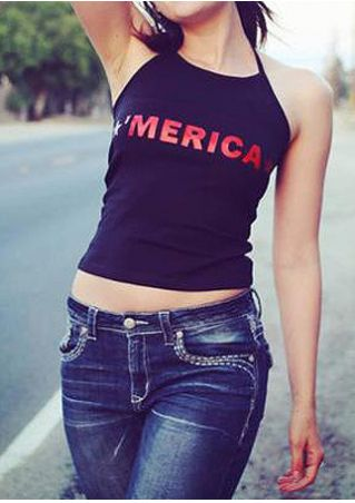 'Merica Star Halter Crop Top