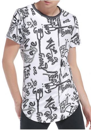 Letter O-Neck Short Sleeve T-Shirt