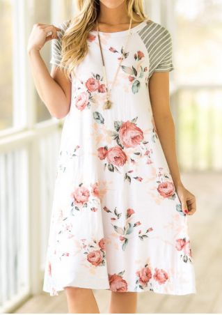 Floral Striped Casual Dress without Necklace