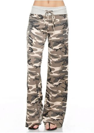 Camouflage Drawstring Wide Leg Pants