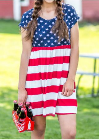 American Flag Printed Mini Dress
