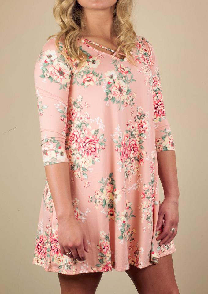 Floral Criss-Cross Three Quarter Sleeve Mini Dress 129196