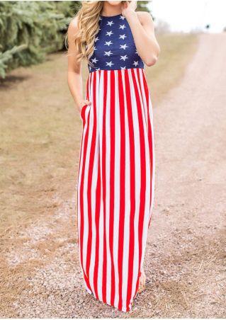 American Flag Printed Maxi Dress