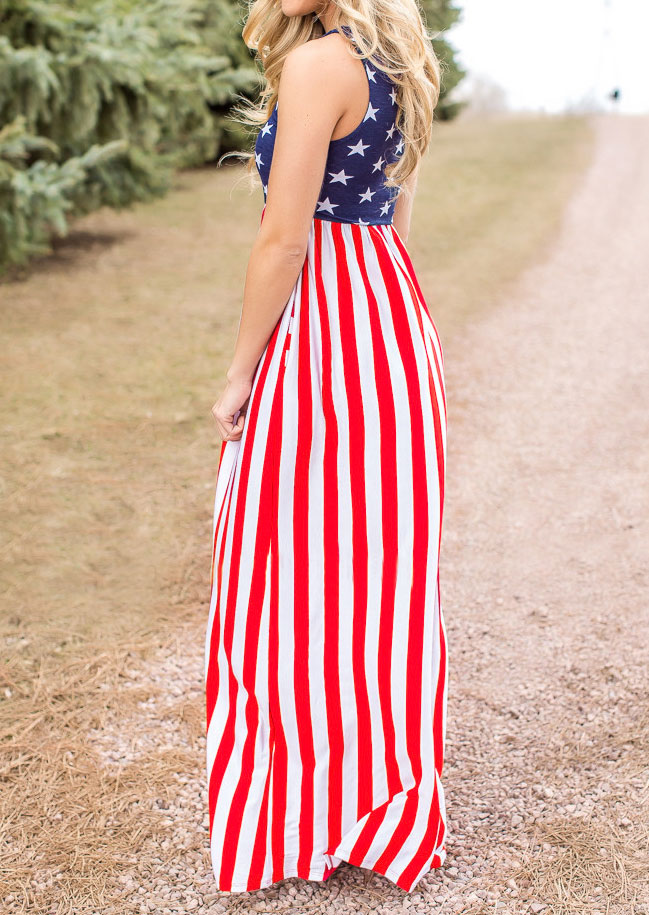American Flag Printed Maxi Dress - Bellelily
