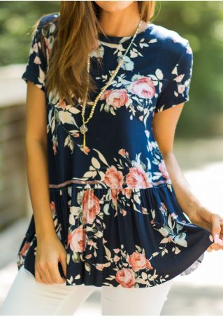 Floral Ruffled Blouse without Necklace