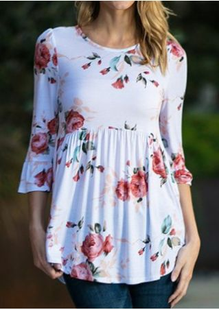 Floral Ruffled Flare Sleeve Blouse