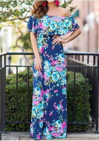 Floral Layered Off Shoulder Maxi Dress