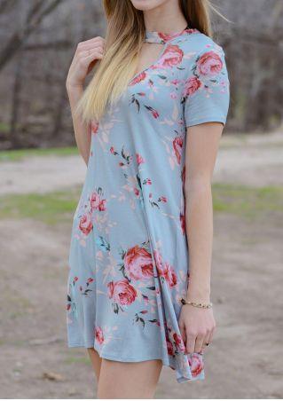 Floral Short Sleeve Mini Dress