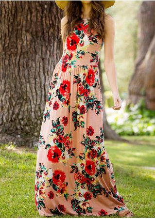 Floral O-Neck Sleeveless Maxi Dress without Necklace