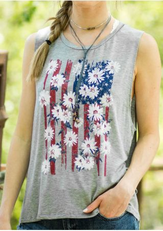 Floral American Flag Printed Tank without Necklace