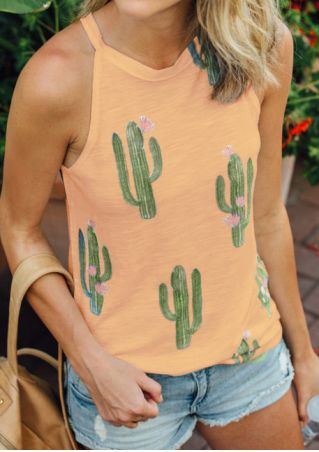 Cactus Printed Sleeveless Tank