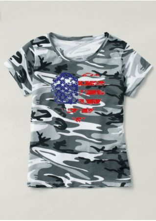 Camouflage Printed American Flag T-Shirt