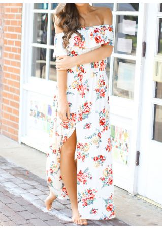 Floral Off Shoulder Slit Maxi Dress