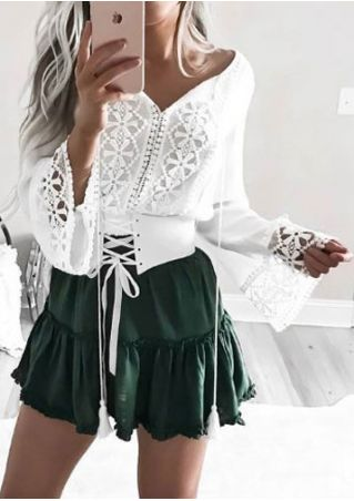 Solid Lace Splicing Tie Blouse without Necklace