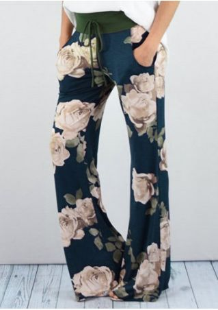 Floral Drawstring Pocket Flare Pants
