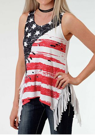 American Flag Tassel Tank without Necklace