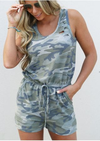 Camouflage Pocket Hollow Out Drawstring Romper