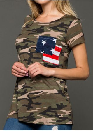 Camouflage Pocket American Flag T-Shirt