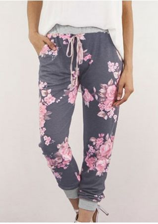 Floral Pocket Drawstring Pants