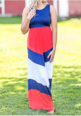 Color Block O-Neck Maxi Dress