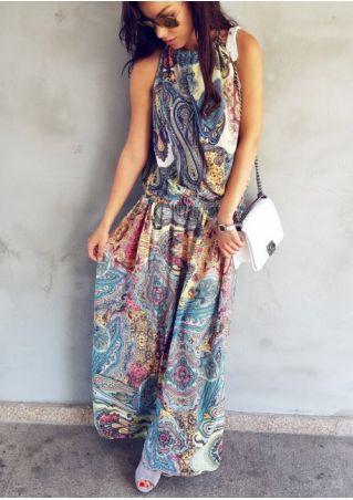 Multicolor Spaghetti Strap Maxi Dress