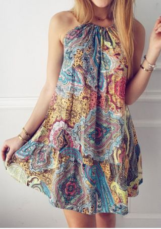 Multicolor Spaghetti Strap Mini Dress without Necklace