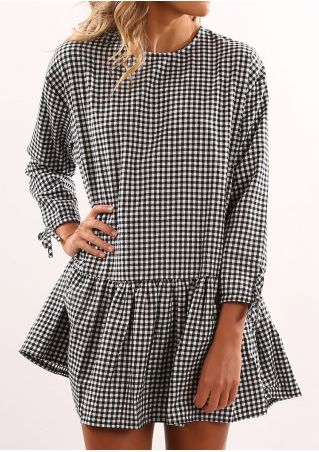 Plaid Button Tie Mini Dress