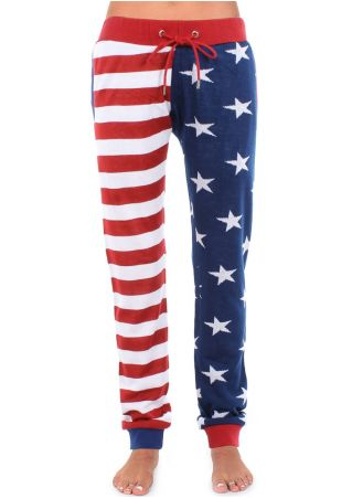 American Flag Striped Star Drawstring Pocket Pants