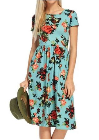 Floral O-Neck Short Sleeve Casual Dress