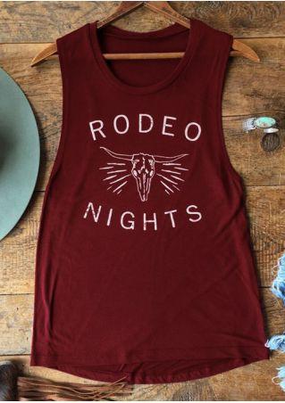 Rodeo Nights Printed O-Neck Tank