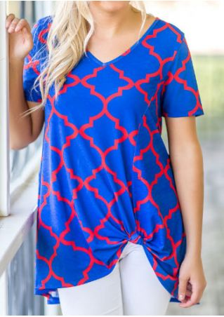 Printed V-Neck Short Sleeve Blouse